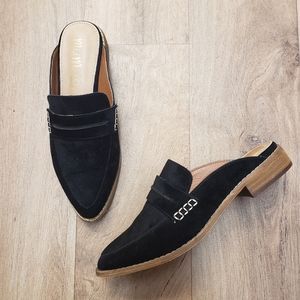 Mi.iM Black Velvet Mules / Loafers Size 6.5